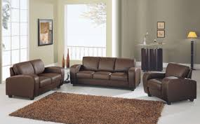 GL Sofa Set Brown Leather Match Sofas - Leather chairs and sofas