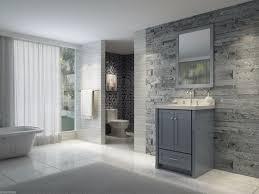 Modern Gray Tile Bathroom Bathroom Modern Gray Bathroom With Grey Wood Vanity And White