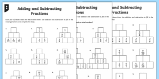 adding and subtracting fractions activity sheet fractions