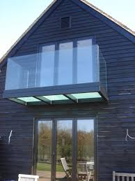 glass floor black powder coated balcony with frosted triple glazed floor and