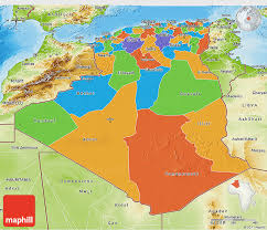 algeria physical map political 3d map of algeria physical outside