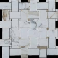 polished brown basket weave tile kitchen backsplash tile mosaic