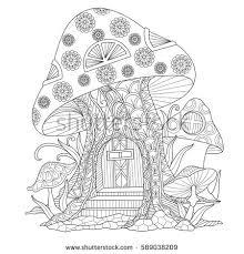 mushroom house zentangle stylized cartoon isolated on white
