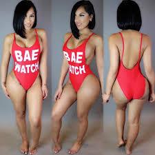 best women one piece swimsuit bae watch print open back