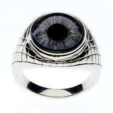 mens stainless steel rings men s blue eye inspired ring steeldragonjewelry
