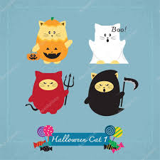 set of cute cat in halloween costumes u2014 stock vector kithara