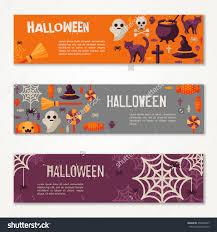 halloween horizontal banners flyers vector illustration stock