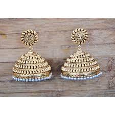 big jhumka gold earrings bold gold antique kairi jhumkas