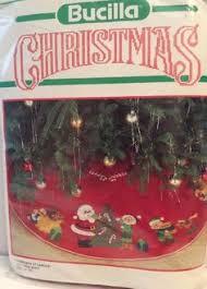 bucilla jolly santa faces felt tree skirt or table