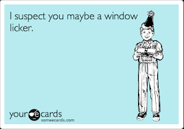 Window Licker Meme - i suspect you maybe a window licker congratulations ecard