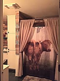 shower curtain cow door primitive farm house decor by folkandfunky