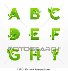 clipart of vector set of green eco letters logo with leaves