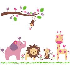 Nursery Wall Decals For Girls by Amazon Com Cartoon Cute Monkeys Big Trees Removable Wall Stickers