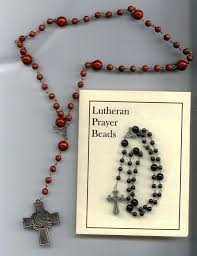 lutheran rosary sacred heart rosary chaplet and prayer card with and white