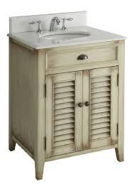 26 inch bathroom vanity cottage beach style distressed beige color
