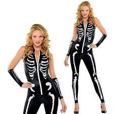 ladies womens skeleton catsuit skinsuit halloween fancy