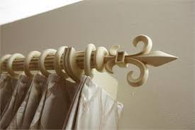 Fleur De Lis Curtain Rods Fleur De Lis Custom 1 3 8 Wood Rod In Antique White