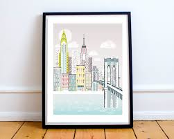 new york city print skyline wall art prints paper poster new york print brooklyn bridge skyline wall art american cityscape christmas gift