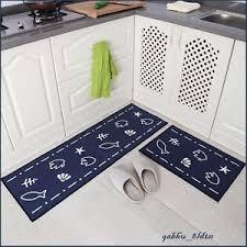 Non Skid Runner Rugs Navy Seaside Themed Non Skid Runner Rug Set Kitchen Bathroom