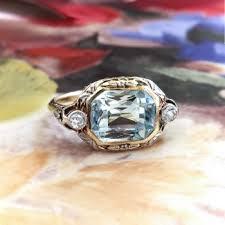 art deco aquamarine diamond ring circa 1930 u0027s two tone filigree