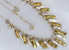white pearls necklace designs images Biwa pearl necklace in white and gold by shapes of nature on zibbet jpg