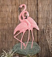 aluminum flamingo wall 69 99 two flamingos metal wall