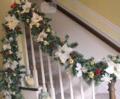 Decorating Banisters For Christmas Exciting Green Christmas Garland Feat White Flower Also White