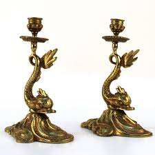 modern dolphin ring holder images Pair of brass dolphin candlestick holders nyshowplace jpg
