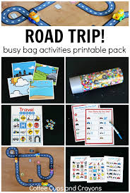 traveling games images Printable road trip busy bag activities coffee cups and crayons jpg