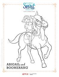 spirit riding free abigail and boomerang coloring page mama