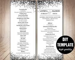 black and white wedding programs confetti program etsy