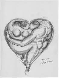 heart of lovers conte pencil on newsprint in sketches and