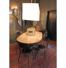 enzo industrial loft pine metal oval dining table kathy kuo home