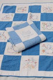 vintage baby crib quilts w hand stitched embroidered blocks