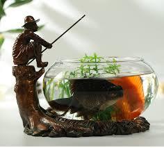 unique fishing figure aquarium decorative glass and resin fish
