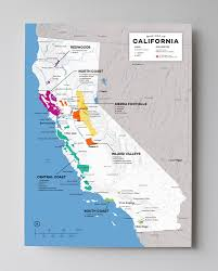 California Map With Cities Detailed Map Of Wine Regions In California Usa Wine Posters