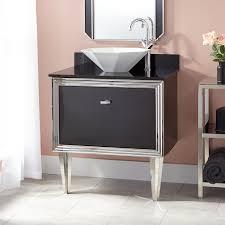 Mariano Stainless Steel WallMount Vessel Sink Vanity Black - Black bathroom vanity with vessel sink