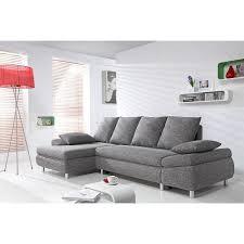 vente de canape naho canapé d angle gauche convertible 4 places tissu gris