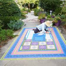 Painting Concrete Patio Slab Concrete Painting Project Faux Floorcloth Better Homes And