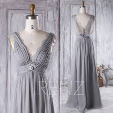 Light Gray Bridesmaid Dress 2016 Light Gray Bridesmaid Dress Long V Neck Lace Wedding Dress
