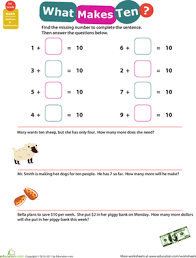 addition addition facts to 10 printable worksheets free math