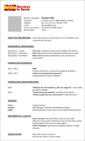 Resume Espanol Cv Model Reverse Servicesinspain