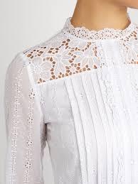 high neck cotton blend lace mini dress valentino