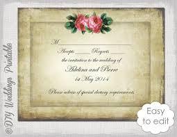 wedding rsvp template download diy vintage