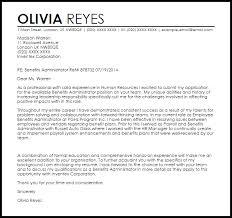 benefits administrator cover letter sample livecareer