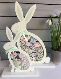 Easter Decorations Made Out Of Pallets by Details About Wood Fretwork Pastel Yellow Bunny Easter Decoration