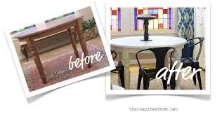 White Wooden Dining Table And Chairs Furniture Makeover Dining Table Before U0026 After The Inspired Room