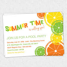 Invitation Card For Pool Party Summer Party Invitation Ideas Citrus Invitation Summer Pool Party