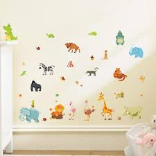 pochoir chambre bébé animaux de la forêt éléphant écureuil kidergartenwall autocollants
