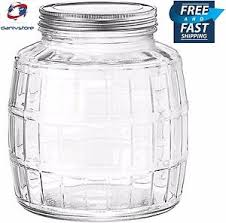 1 gallon barrel clear glass jar with lid kitchen storage canister